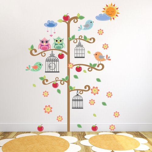 East Urban Home This Birdcage Tree wall sticker would look great in your kid's room and will make your child feeling happy. Four sticker packs contain 70 pieces of colourful wall stickers.   The package includes 4 pieces of 30cm x 90cm sticker. The finishing size is 130cm W x 190cm H- less or more, depending on your preferences.