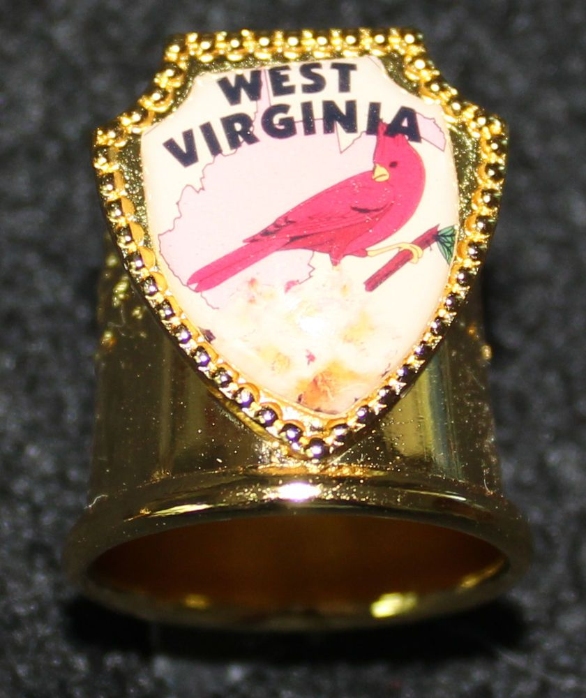 West Virginia - Gold Metal Thimble