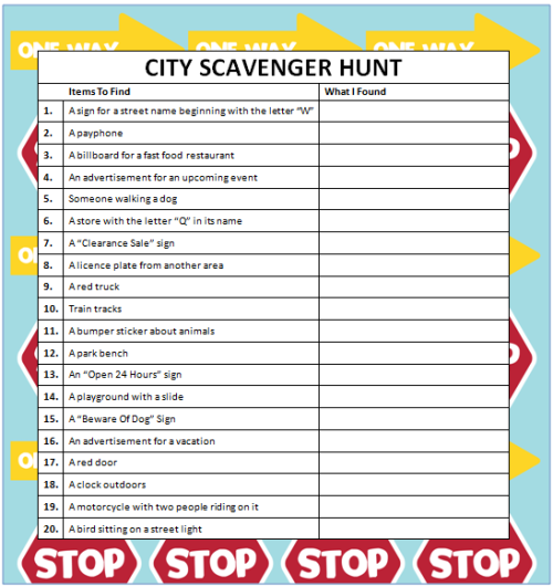 City scavenger hunts free printable free printable for Activities for adults in nyc