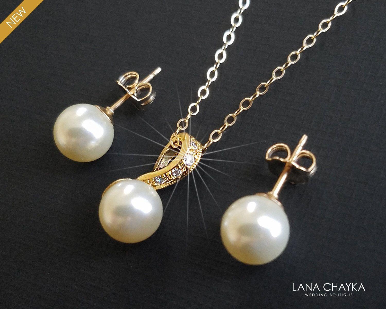 Pearl Gold Bridal Jewelry Set, Wedding Earrings&Ne