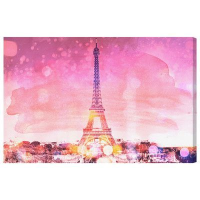 "Mercer41 Eiffel Paris Pink Graphic Art on Wrapped Canvas Size: 15"" H x 10"" W x 1.5 "" D"