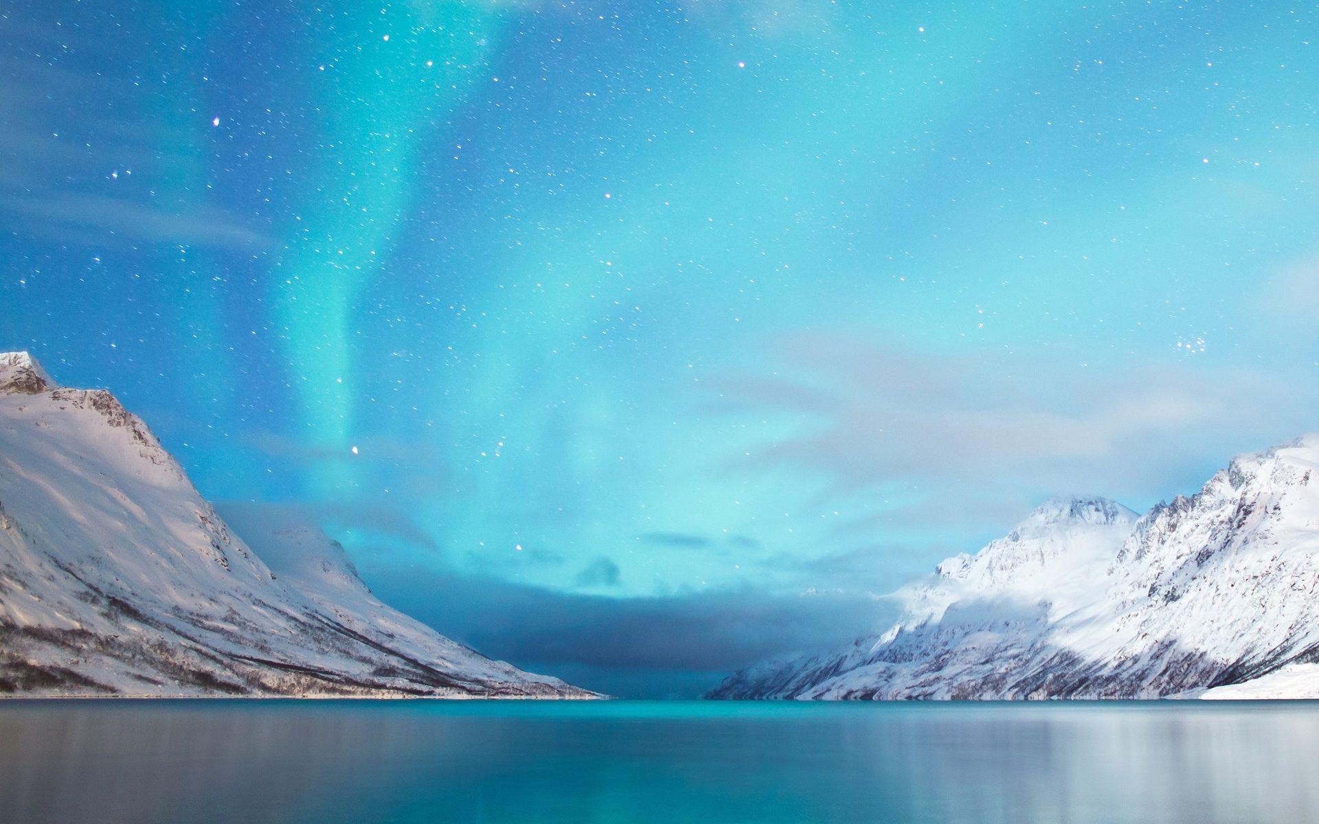 Terrenature Aurore Boréale Montagne Snow Aurora