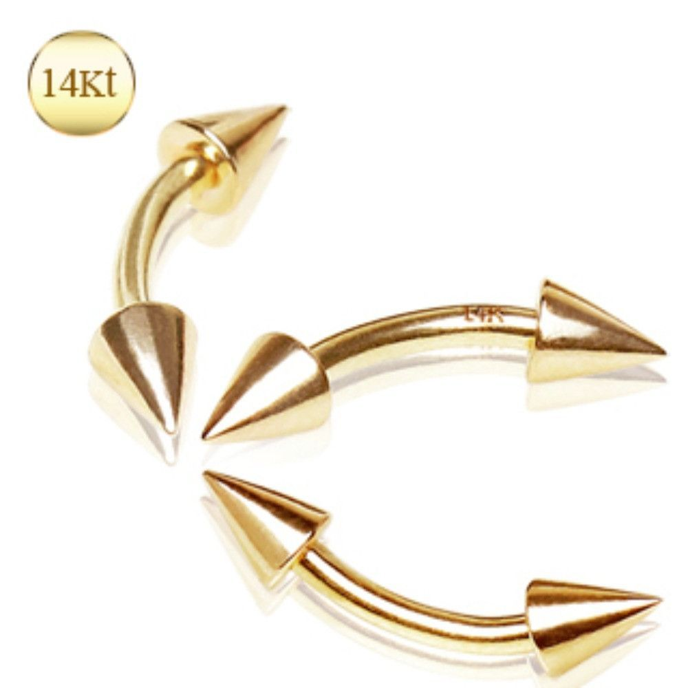 14kt Yellow Gold Eyebrow Ring With Spikes Eyebrow Ring And Products