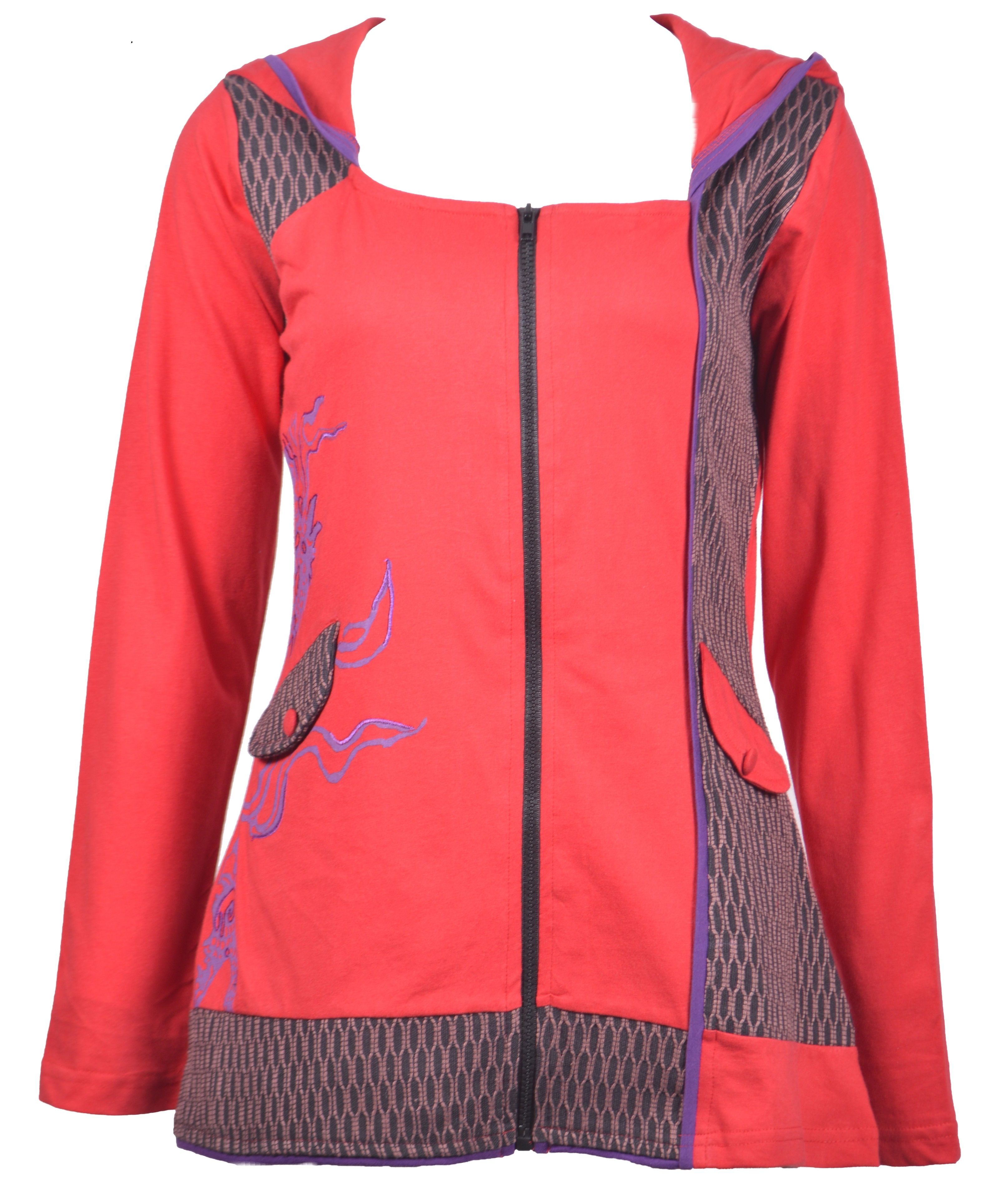 Women's Red Long Sleeve Sinker Jacket with Side Embroidery