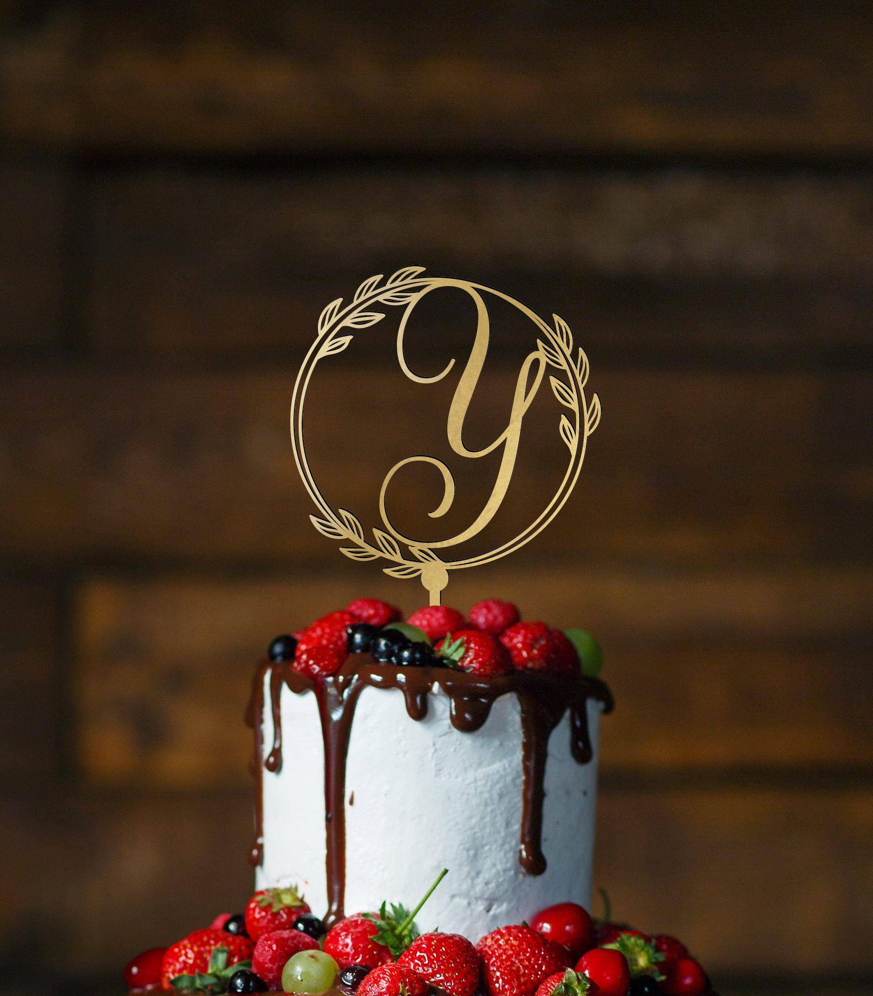 Bridal shower cake topper letter y cake topper silver
