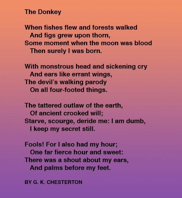 the donkey gk chesterton w o r d s gk  gk chesterton