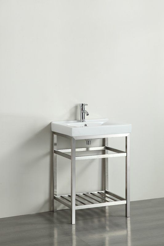 Eviva 24 inch Stone® bathroom vanity stainless steel with white