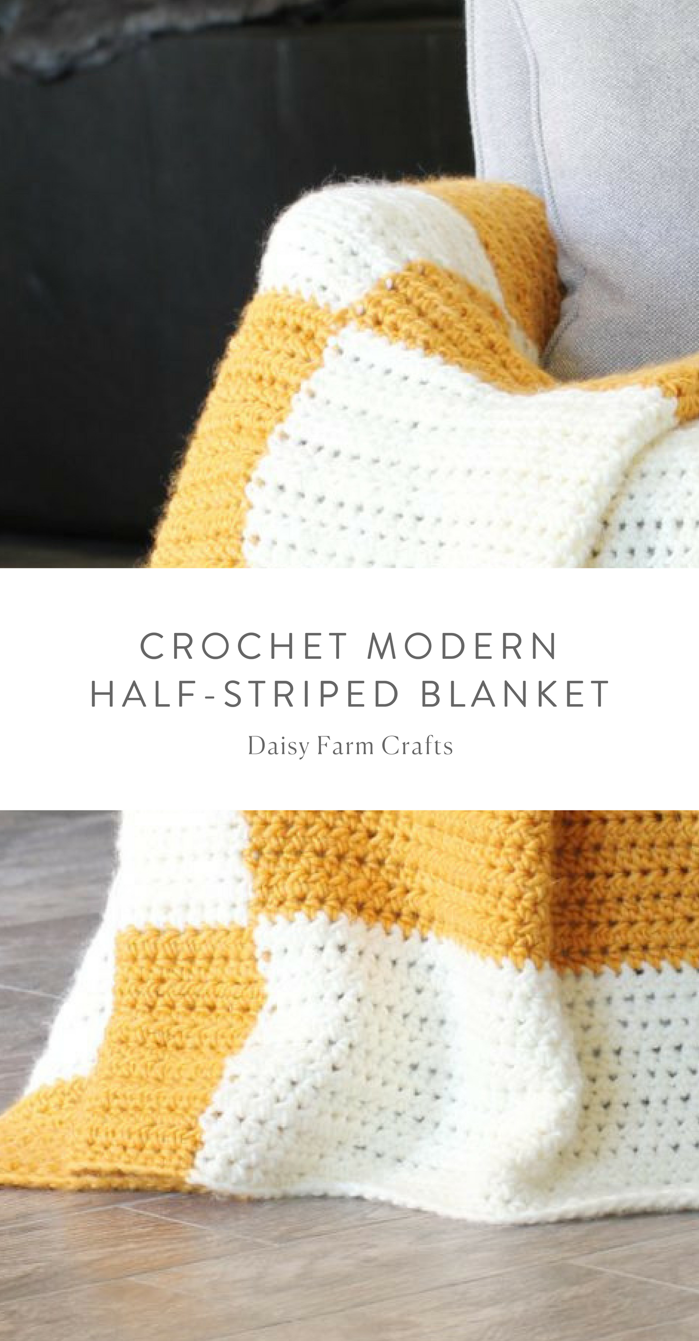 Free Pattern - Crochet Modern Half-Striped Blanket #crochet ...
