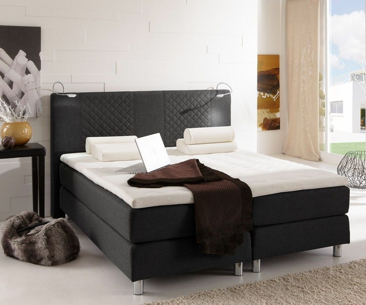 boxspringbett boste 140x200 schwarz matratze und topper delife deluxe beds bett. Black Bedroom Furniture Sets. Home Design Ideas