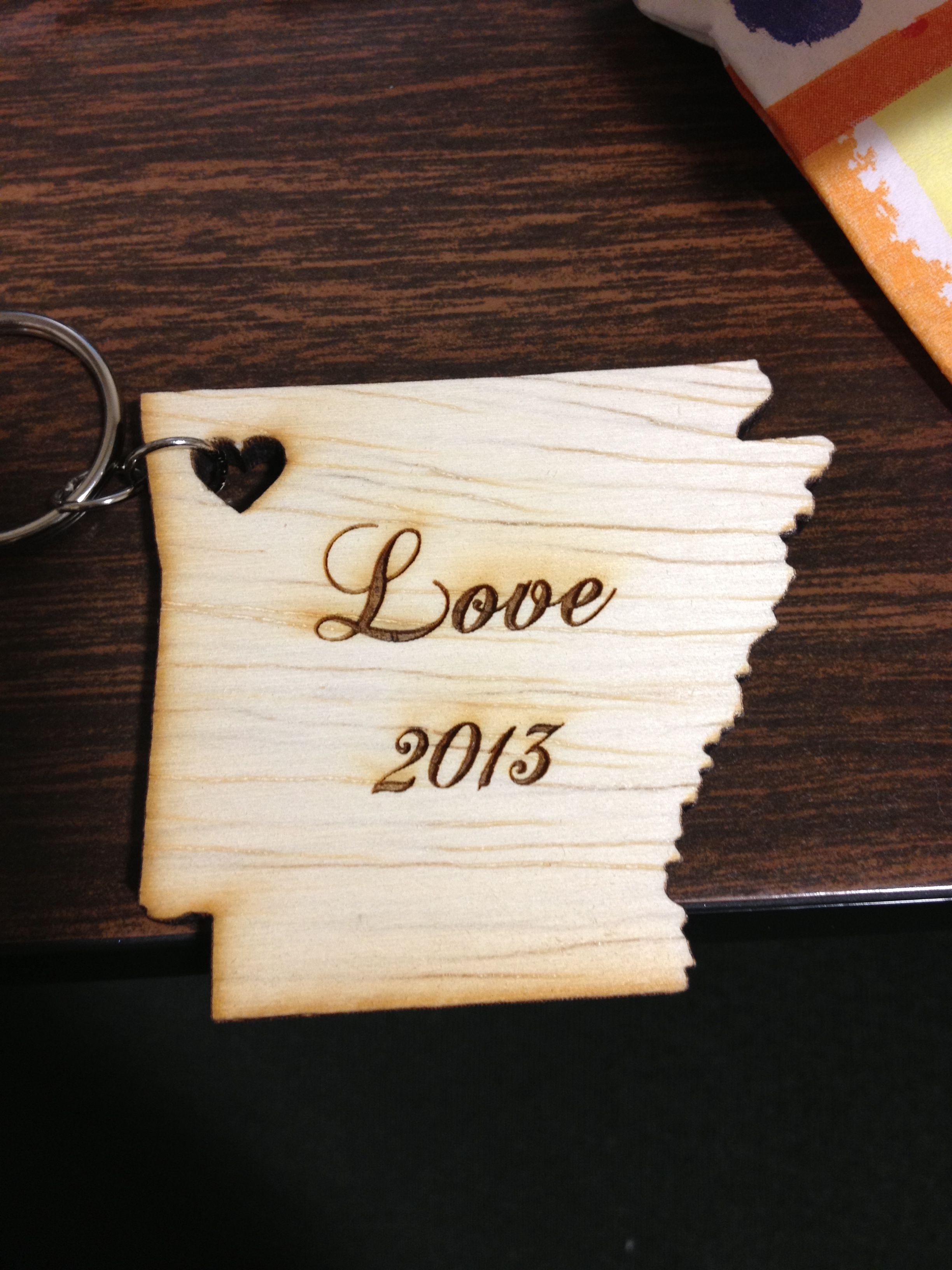 This has to be the cutest and most unique party/wedding favor I've seen. The heart marks the location where the couple met! (Fayetteville)
