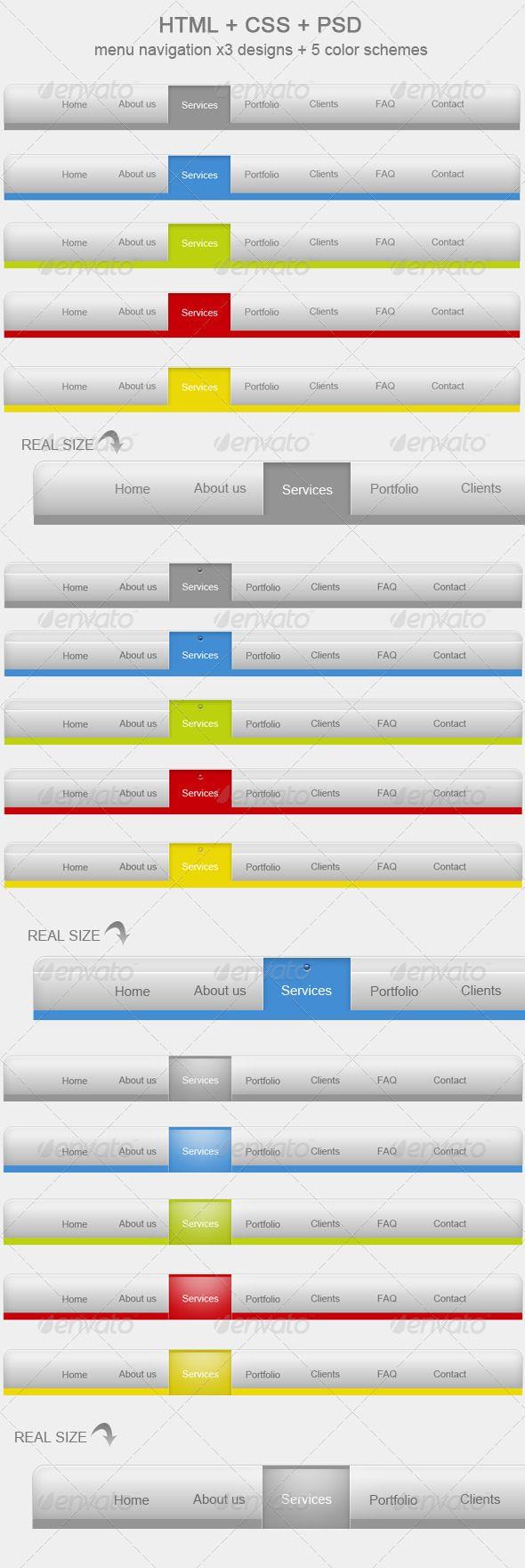 HTML + CSS + PSD menu x 15 + 5 colors! V3