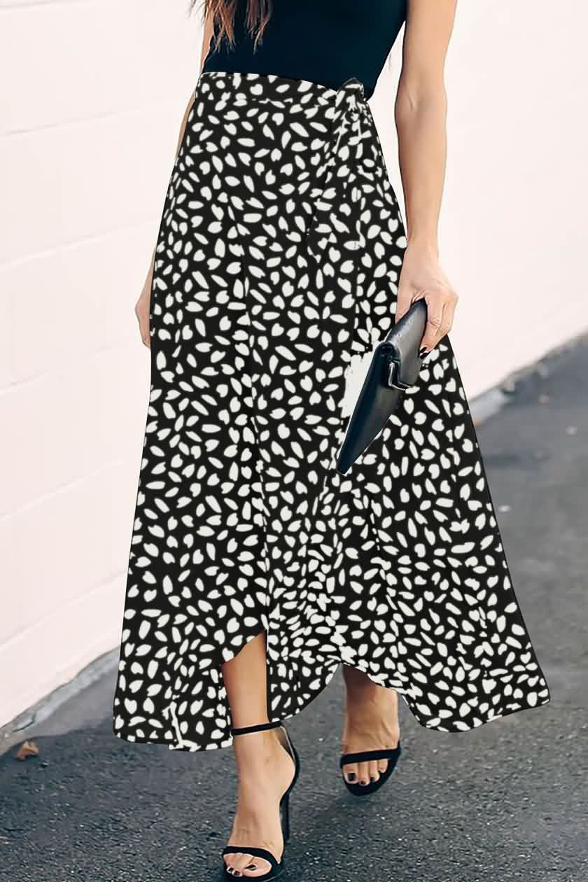 Black Printed Tied Waist Overlap Casual Maxi Skirt Skirt Fashion Long Skirt Outfits Casual Maxi Skirt [ 1260 x 840 Pixel ]
