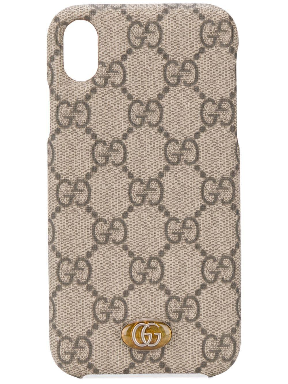 Gucci gg supreme monogram iphone xr case neutrals in