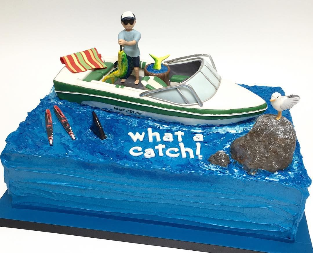 What A Catch A Fun Boat Cake To Celebrate A Birthday Tam Nguyen14 Deliciousarts Boat Sharkfin Rocks Boat Mahi Fishing Boat Cake Water Skiing Birthday