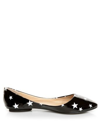 Fiebiger Moon Black and White Star Print Patent Pointed Flats, dont forget the shoes!!!