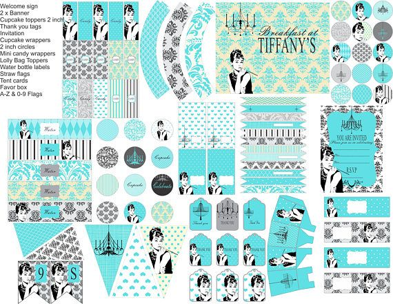 Audrey Hepburn Candy bar wrapper Labels Blue Breakfast at /& Co Theme Decorations Printable bridal shower gifts