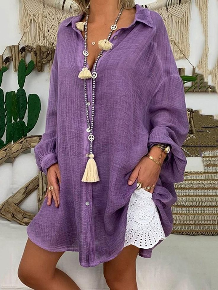 Button Lapel Plain Mid-Length Long Sleeve Blouse – vacation outfit ideas,vacation wear,vacation