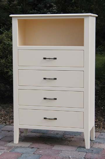 Dressers With Open Shelves Painted Cream 4 Drawers Shelf