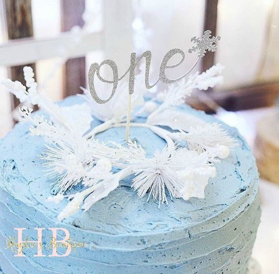 First Birthday Cake Topper | Snowflake Glitter Silver