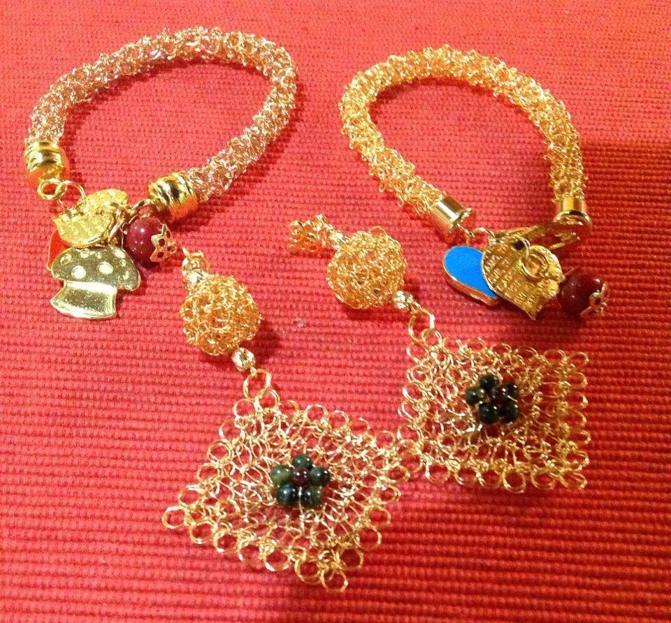 496352066 Brazalete churros y zarcillos cuadrados con esferas