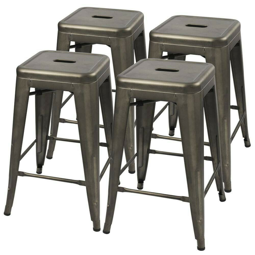 24 Metal Stools Counter Kitchen Stools Set Of 4 Backless Stackable