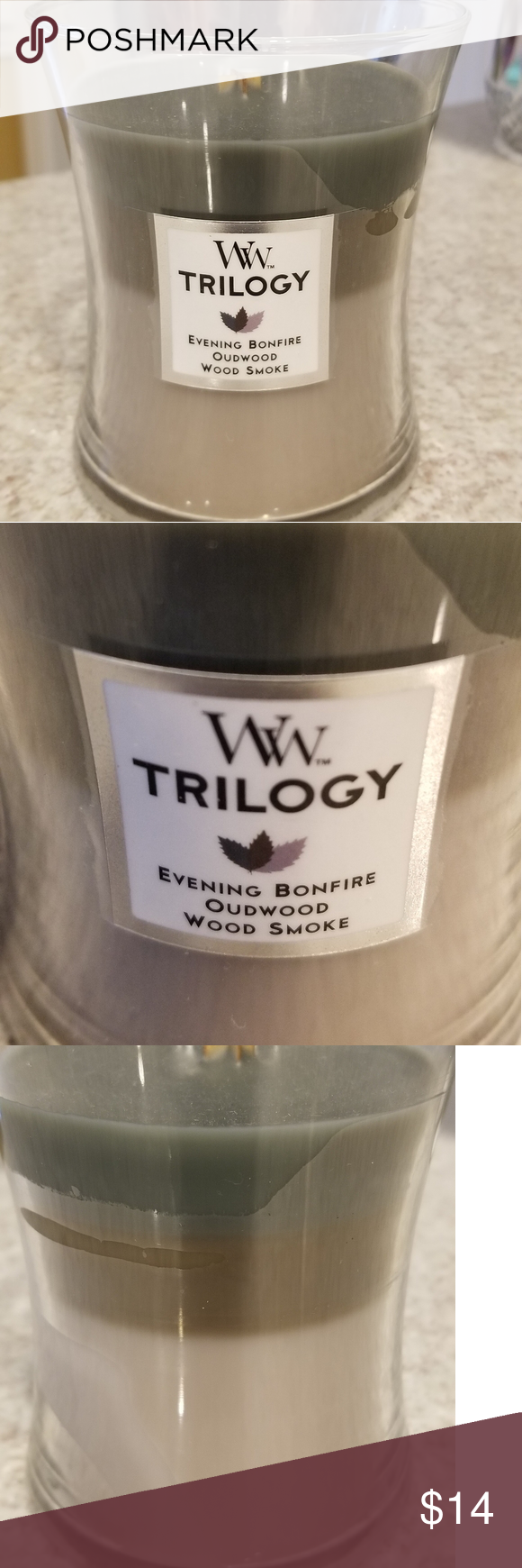 Photo of New WoodWick Trilogy Candle New WoodWick Trilogy Candle Evening Bonfire Oudwood …