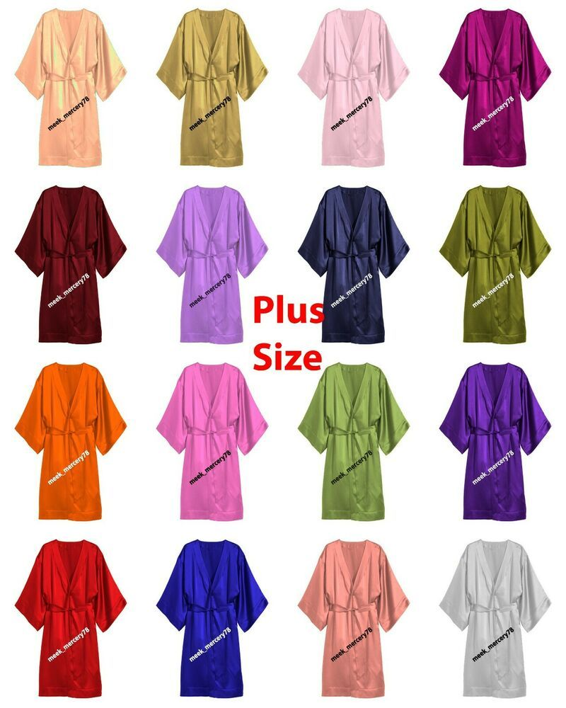 Satin Bathrobe Night Wear One Peace Gown Women Dress Halloween Plus Size S79