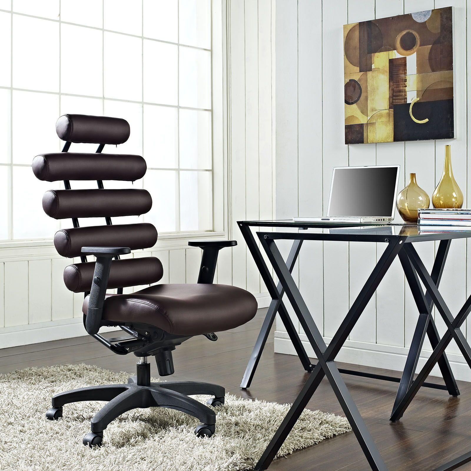 Pillow Modern Dark Brown Vinyl Aluminum Metal Office Chair