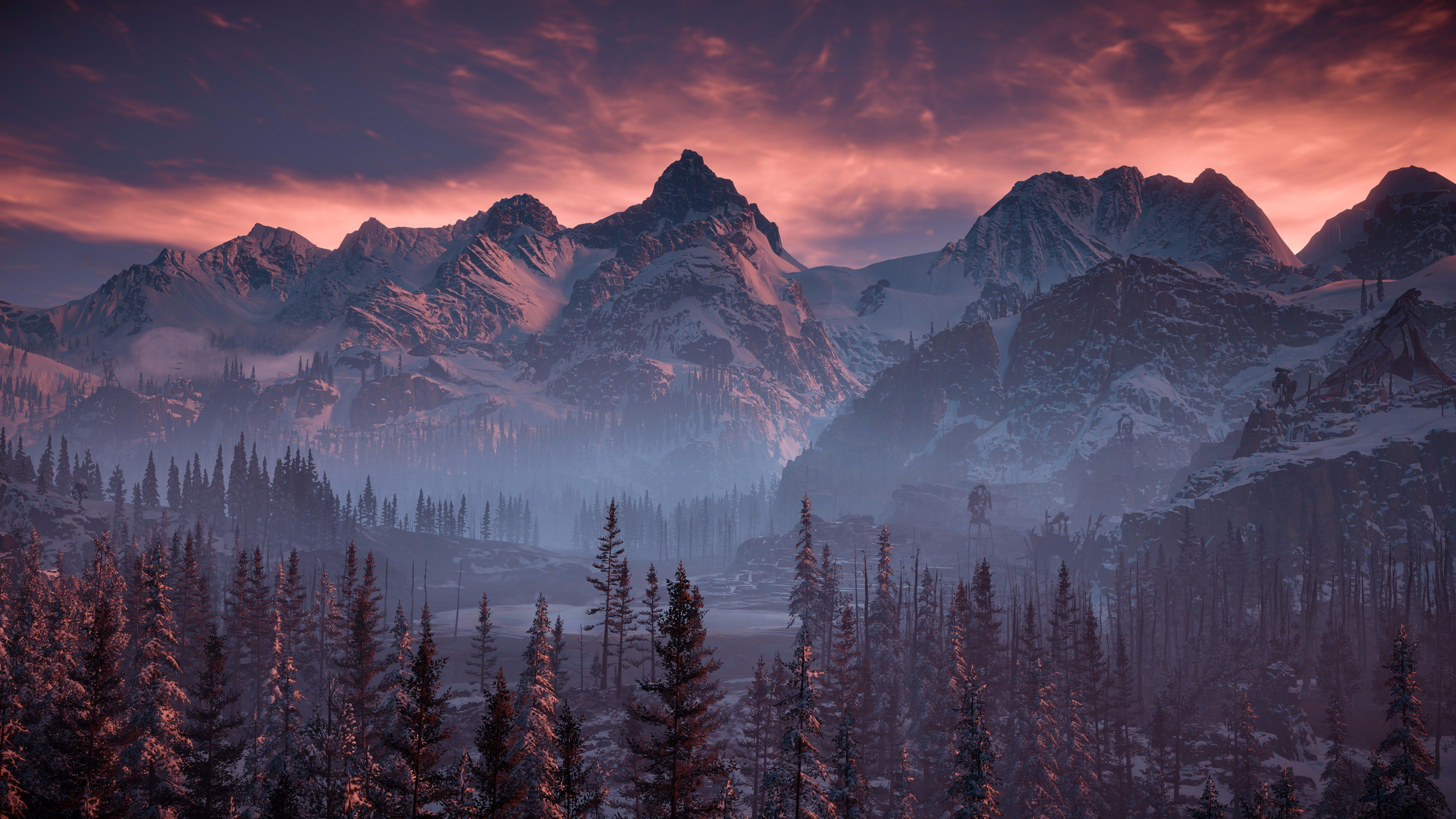 Trees And Mountains Silhouette Of Mountains And Trees Poster Horizon Ze Computer Wallpaper Desktop Wallpapers Landscape Wallpaper Horizon Zero Dawn Wallpaper