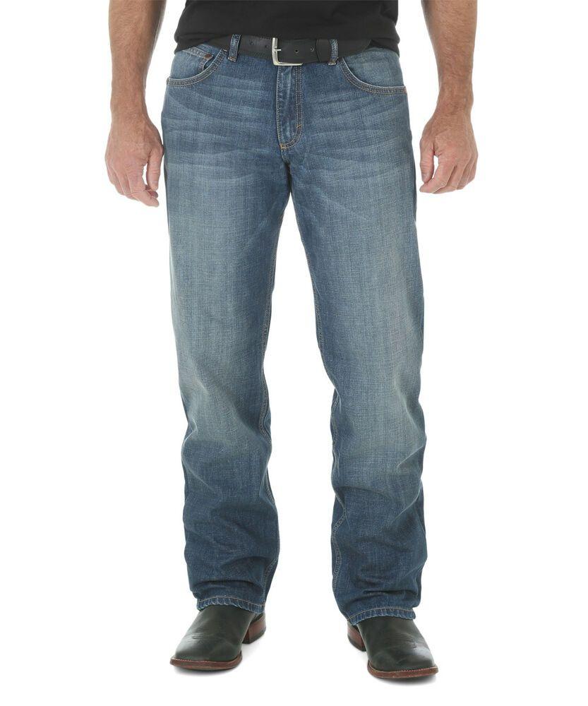 Mens wrangler retro jeans blue relaxed straight waist 29 x