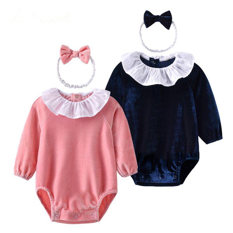 46cfa879ed3e Auro Mesa New 2018 Newborn Baby Bodysuit With Headband Velvet Baby ...