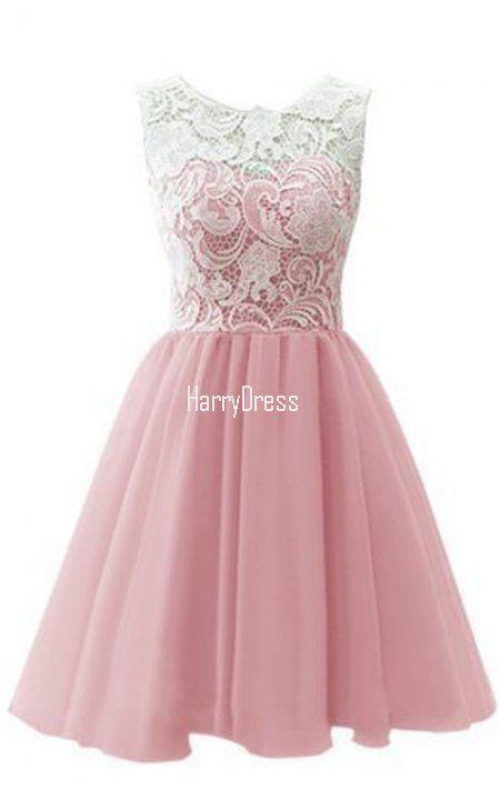 A Line Sleeveless Peach Lace Chiffon Mini Short Homecoming Dress ...
