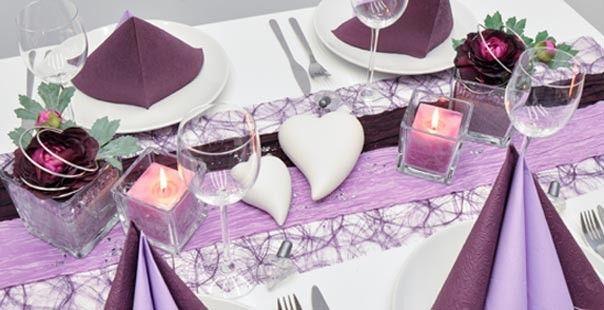 Tischdeko Aubergine Flieder Hochzeit Wedding