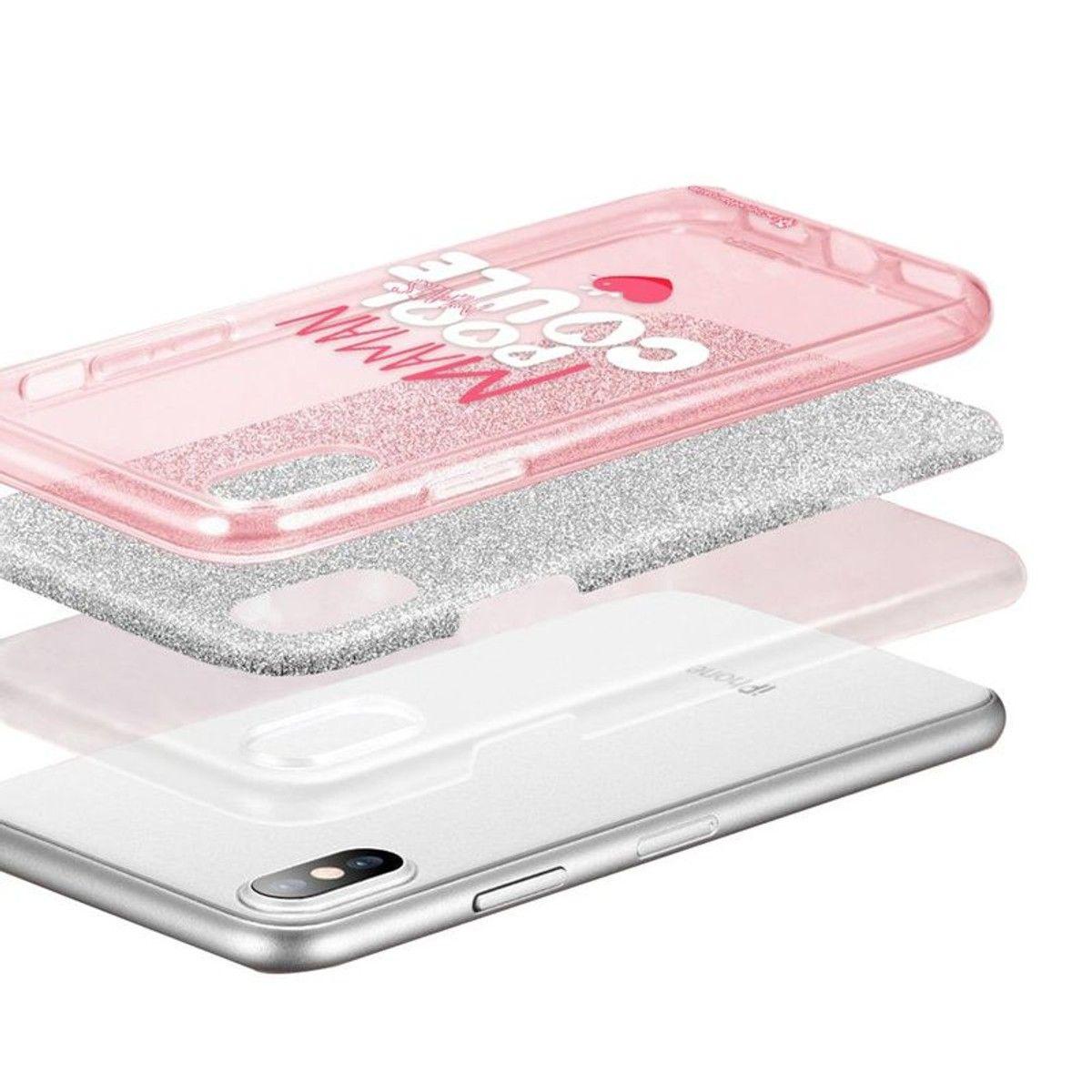 coque iphone xs rose paillette