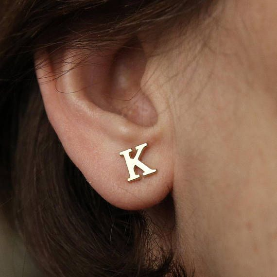 14k Solid Gold Initial Stud Earrings Personalized Gift