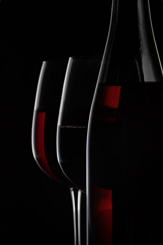 Red Wine Bottle And Two Wine Glasses On Black Background Wine Glass Art Wine Art Simple Canvas Paintings