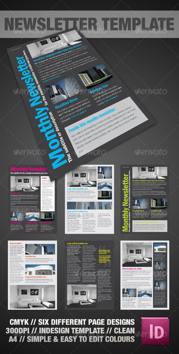 Clear A4 Newsletter - InDesign | Newsletter layout, Layouts and ...
