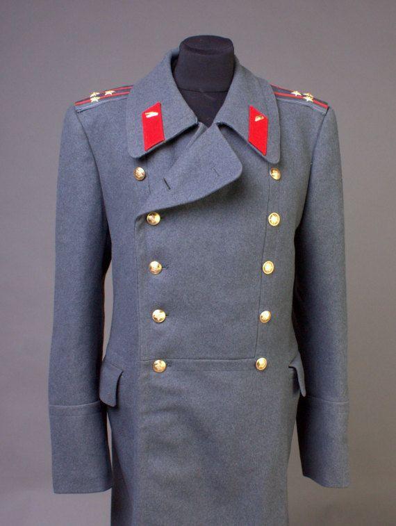 3167c87956 Overcoat men Double breasted Grey Soviet Army Trenchcoat Greatcoat ...