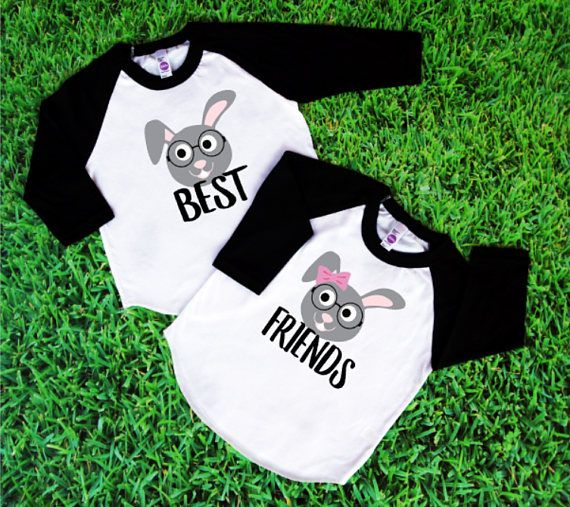 74390f0e Celebrate Easter with this matching set of Best Friend raglan tees! These  childrens t-shirts featuring boy or girl bunnies make great autumn outfits  for ...