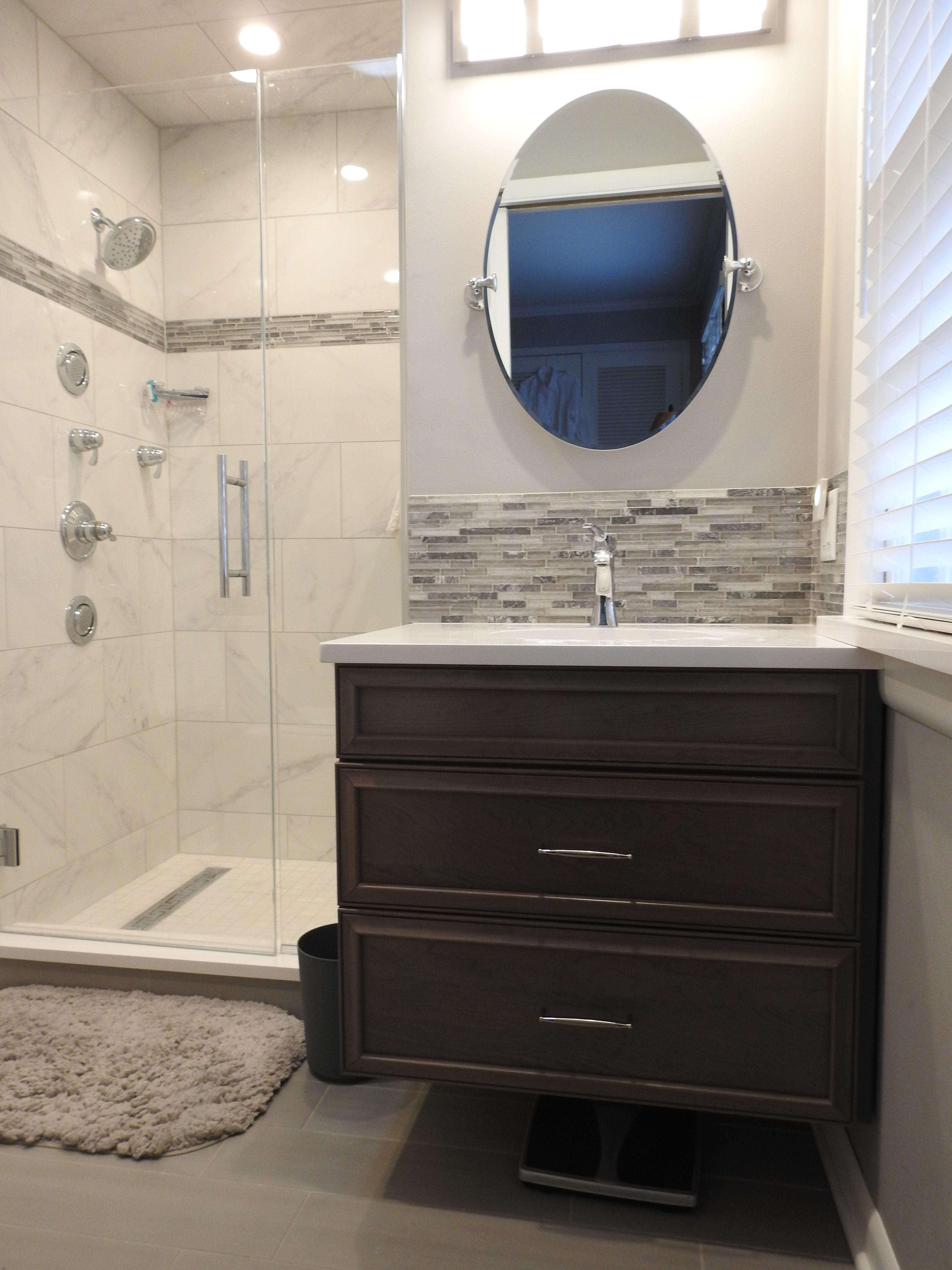 Master Bathroom Floating Vanity With Tile Backsplash In Western Springs Illinois Small Bathroom Remodel Master Bathroom Floating Vanity [ 4608 x 3456 Pixel ]