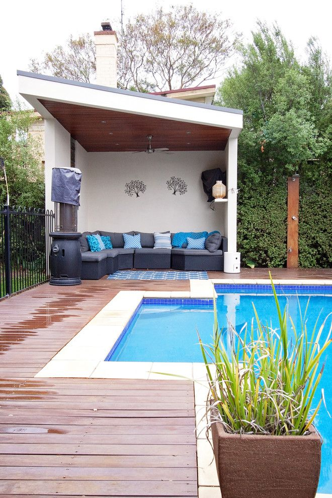 simple modern pool cabana with wooden ceiling, ceiling fan ... on Small Pool Cabana Ideas id=43562