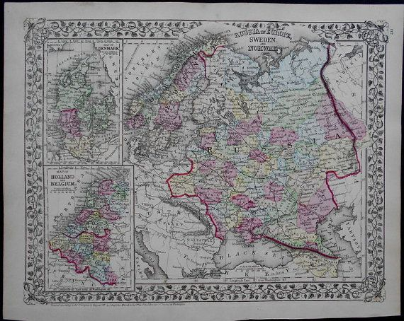 Mitchell Map Western Russia Sweden Norway Insets Maps Of - Sweden holland map
