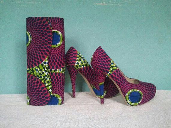 Handmade african print heels and matching clutches by LyciaTurquis, $100.00