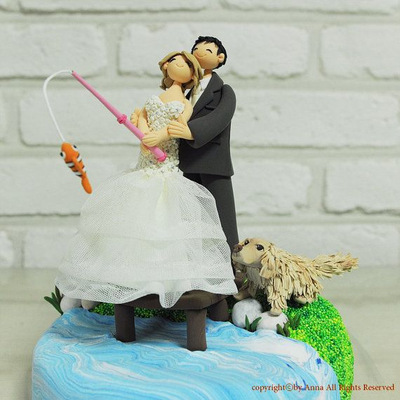 Lake fishing theme wedding cake topper by annacrafts on for Fishing cake toppers
