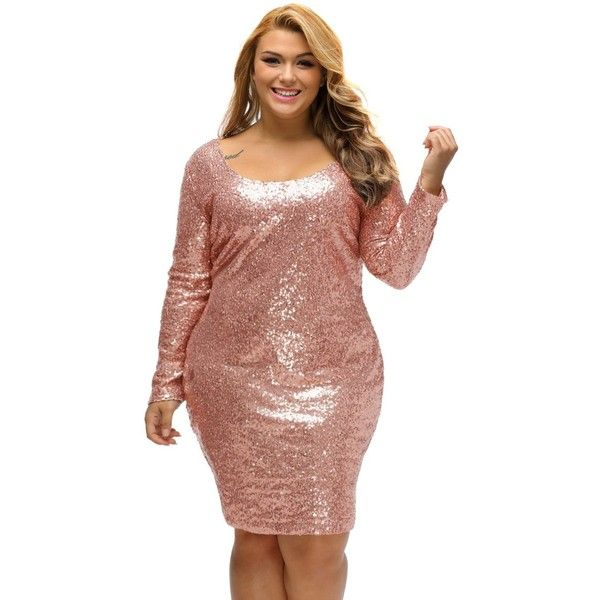Rose Gold Sequin Plus Size Long Sleeve Dress ($35) Liked