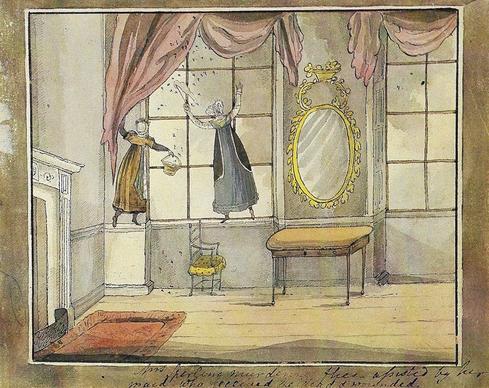 """Diana Sperling (British painter& illustrator) 1791-1862. Murdering Flies,""""Mrs. Sperling murdering flies, assisted by her maid who received the dead & wounded.Published in,""""Mrs. Hurst Dancing & Other Scenes from Regency Life"""","""