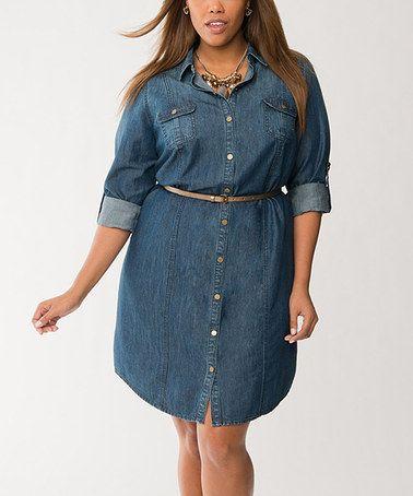 aadb76546c Love this Dark Water Denim Belted Shirt Dress - Plus by Lane Bryant on   zulily!  zulilyfinds