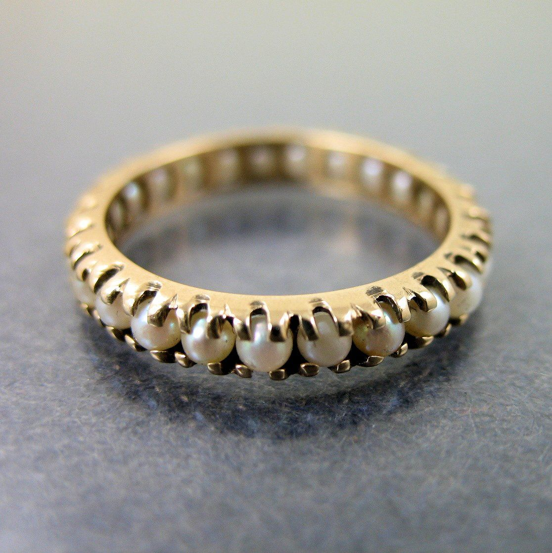 Estate 14K Yellow Gold Seed Pearl Eternity Wedding Band