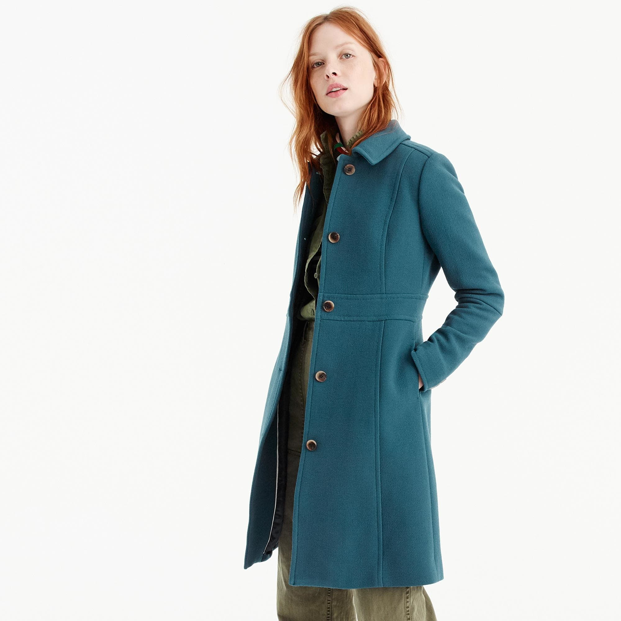 Petite Italian double-cloth wool lady day coat in