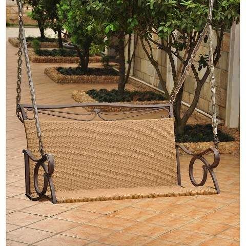 International Caravan Valencia Wicker And Iron Patio Swing